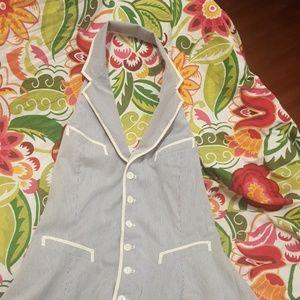 Summer halter dress. Light blue and white stripe